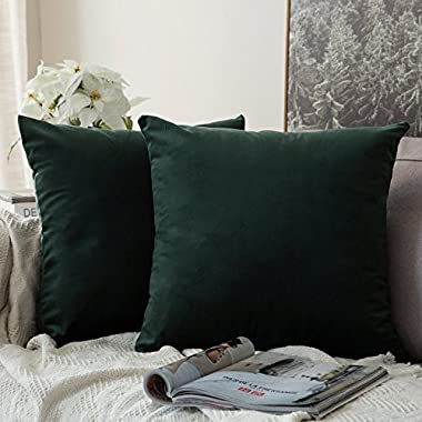 Miulee Pack of 2, Velvet Soft Soild Decorative Square Throw Pillow Covers Set Cushion Case for Sofa Bedroom Car 18 x 18 Inch 45 x 45 Cm