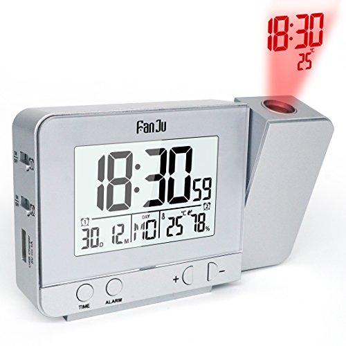 Projektionswecker Digital Uhr mit USB Anschluss, Innentemperaturanzeige und Datumsanzeige, 4 Helligkeiten, Dual-Alarm, Kalender, für das Home Office, Kinderzimmer (Silber)