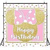 Riyidecor 6x6ft Happy Birthday Backdrop Mouse Pink Gold Polka Dots Princess Girl Photography Background Newborn Baby Shower Party Decoration Celebration Banner Props Photo Shoot Studio Vinyl Cloth