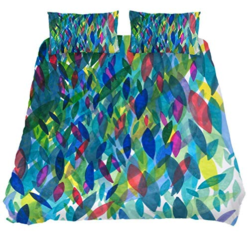 Duvet Cover Set Colorful Patterns Comforter Bedding Sets Soft 3 Piece King Size with 2 Pillow Shams Hypoallergenic Soft and Comfortable Zipper