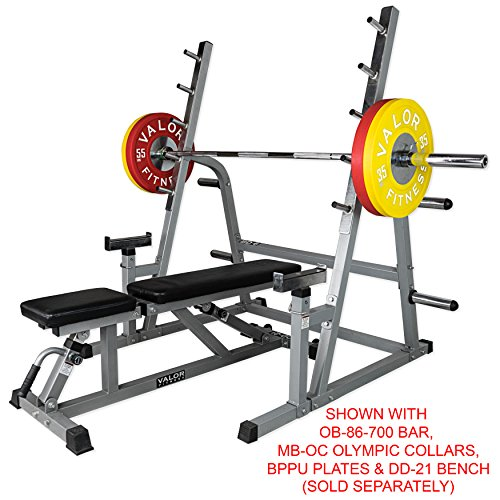 Valor Fitness BD-6 Squat and Bench Press Rack with Adjustable Safety Catch and Storage Pegs for Olympic Plates