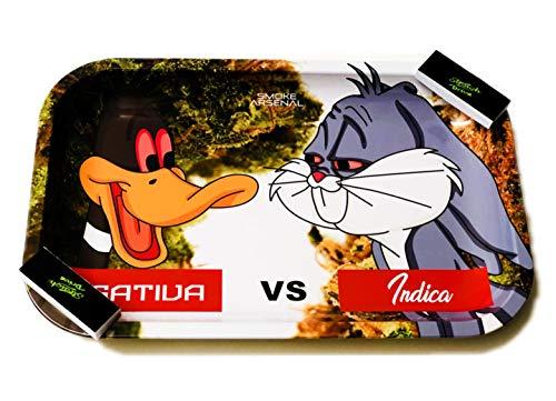 Straight Drive Zigarettenspitzen mit rauchfarbenem Arsenal Tablett (Sativa vs India) Design von Straight Drive