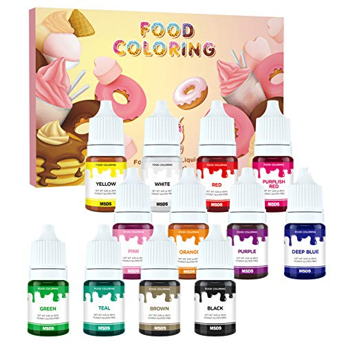 12 Colors Food Coloring Set - Nomeca Vibrant Liquid Food Dye Tasteless Icing Frosting Colors for Baking, Cake Decorating, Cooking, Buttercream, Fondant - .25 Fl. Oz Each Bottles