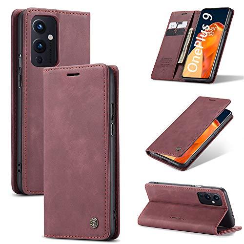KONEE Funda Compatible con OnePlus 9, [Ranuras para Tarjetas] [Soporte Plegable] Magnético Carcasa Premium PU Cuero Flip Folio Carcasa para OnePlus 9 - Vino Tinto