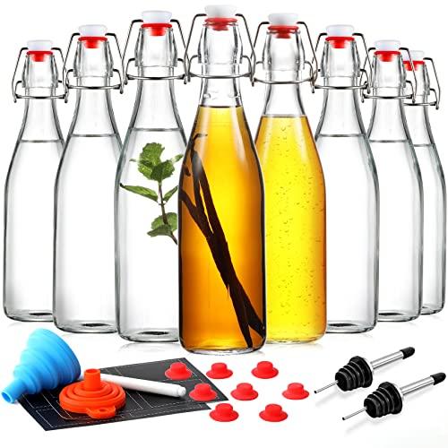 [ 8 PACK] Swing Top Glass Bottles - 16 oz Flip Top Beer Brewing Bottles for 2nd Fermentation, Kombucha, Kefir, Vanilla Extract - Display, Gift Bottles for Juice, Tea - Airtight, Bonus 2 Bottle Pourers
