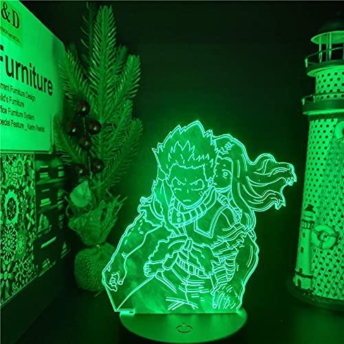 Boku no Hero Academia Midoriya Izuku Eri 3D LED ANIME LAMP Nightlights MY HERO ACADEMIA Lampara para dormitorio, Crack Base sin control remoto