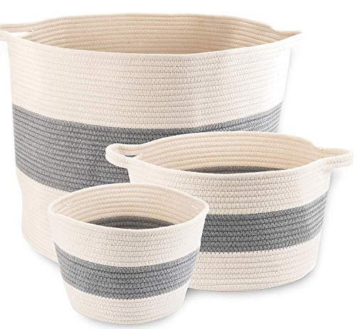 "Little Hippo 3pc Large Cotton Rope Basket (21""x16"") 100% Natural Cotton! Rope Basket, Woven Storage Basket, Large Basket, Blanket Basket Living Room, Toy Basket, Pillow Basket, Round Basket"