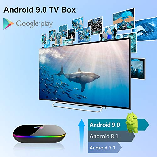 Android TV Box, Q Plus TV Box Android 9.0 mit 2 GB RAM 16 GB ROM H6 Quad Core Cortex-A53 Prozessor Smart TV Box, unterstützt 6 K Auflösung 3D 2,4 GHz WiFi 10/100 m Ethernet USB 3.0 Media Player