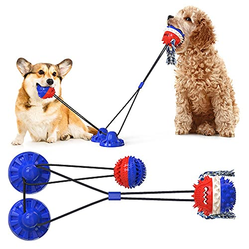 HallwayeeDog Double Suction Cups Chew Toys Indoor Powerful Tether Ball with Elastic Rope Toy Dog Food Dispensing Toys Molar Bite Squeaky Toys Water Floating Ball Toys(Royal Blue)