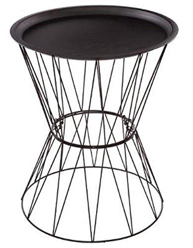 PEGANE Table café en Fer et Acier Coloris Noir - Dim : D 43,5 x H 52 cm