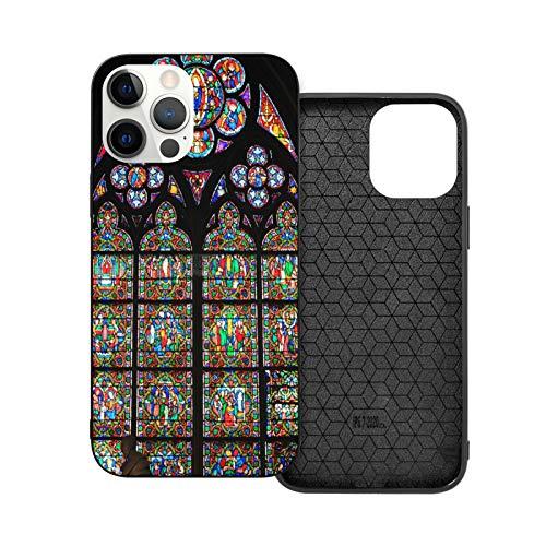 Compatible con iPhone 12 Mini 5,4 pulgadas, Windows of Flowers en la catedral de Notre Dame en París, suave y antideslizante TPU protector de iPhone