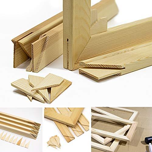 Keilrahmen-Set 50x40cm, Holz Keilrahmenleisten Bausatz zur Selbstmontage, Selbstbau ohne Leinwand, mit profilierten, gezapften Keilrahmenleisten mit Holzkeilen und Zwischenstegen je nach Größe