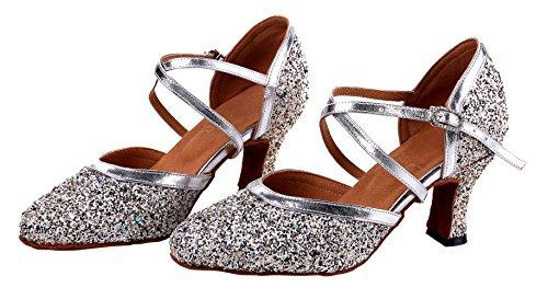 Honeystore Frauen's Funkelnde Glitzer Heels Absatzschuhe Moderne Tanzschuhe Silber und Schwarz - 6