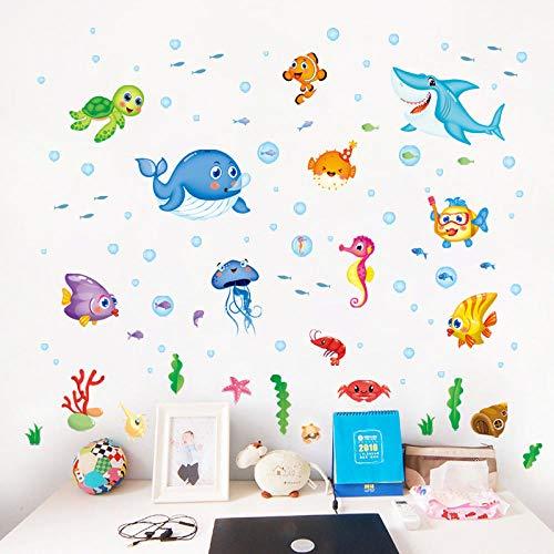 Stickers Muraux,Autocollant Mural Décoratif Amovible Happy Little Fish Underwater World Kindergarten Pour Enfants-50 * 70Cm