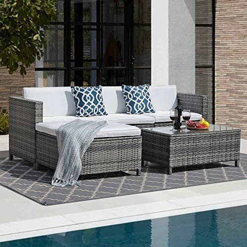 JOIVI Patio Furniture Sets, 5 Pieces All-Weather Outdoor Sectional Sofa Grey Wicker Rattan Patio Conversation Set with Ottoman, Washable White Cushionsand 2 Blue Pillows