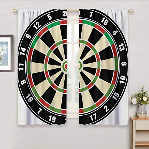 DIMICA Farmhouse Curtain Sports Dart Board Numbers Sports Accuracy Precision Target Leisure Time Graphic Sliding Soundproof Curtains W84 x L84 Inch Vermilion Green Black