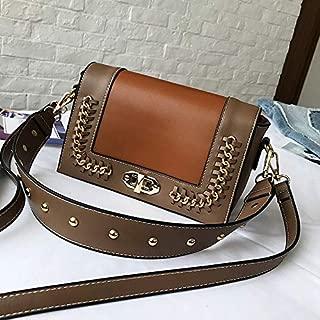 Vintage Metal Chain Colorblock Lock Buckle Style One Shoulder Crossbody Envelope Bag (Khaki) Girls Handbag