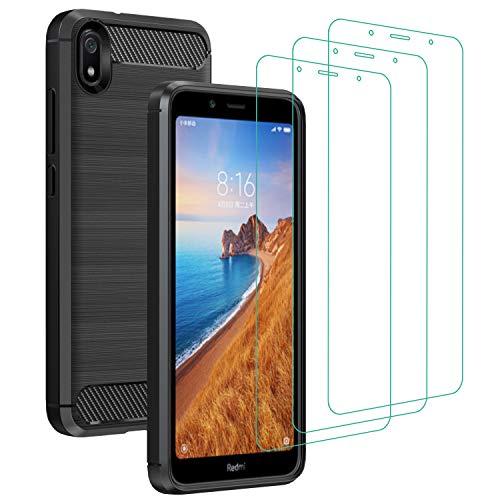 ivoler Hülle für Xiaomi Redmi 7A mit 3 Panzerglas Schutzfolie, Schwarz Stylisch Karbon Design Anti-Kratzer Handyhülle Stoßfest Schutzhülle Cover Weiche TPU Silikon Hülle