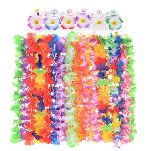 EKKONG 36 Stücke Hawaii Luau Party Dekoration Girlande Set, Umfassen 24 STK Hawaii Blumenkette mit 12stk Hawaiian Plumeria Haarspange, für Sommer Beach Party Mottoparty Feierlichkeiten (36pcs)