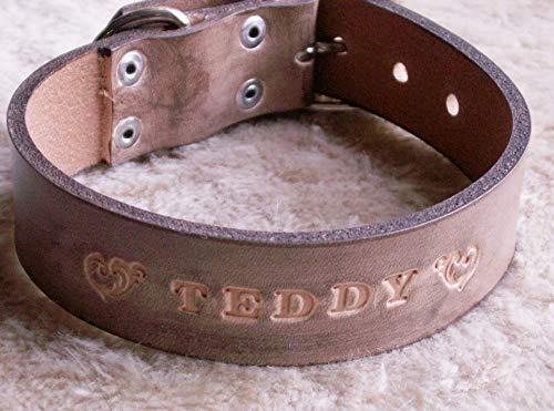 """Hundehalsband""""Classic"""" mit Namen, 3 cm Breite, Handarbeit aus Leder in 5 Längen"""