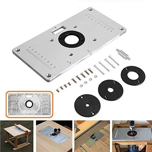 Oberfräser Tisch-Einlage für Makita 700C Holzbearbeitung, Multifunktionale Aluminiumlegierung mit 4 Ringen und Schrauben, silber
