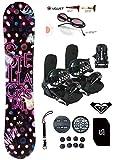 womens 140 snowboard package - Stella 137-140-144cm Crystal Womens Girls Snowboard +Bindings Package +Leash+Stomp+Sunglasses+ Roxy Decal (Bindings Black S (fit 6-9), 140cm Crystal (N17))