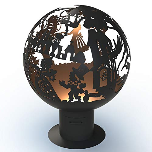 Alice in Wonderland Fire Pit - Ø 0.9 m Patio Heater Metal Garden Fire Globe Ball Centrepiece for Halloween Bonfire Outdoor Party UK