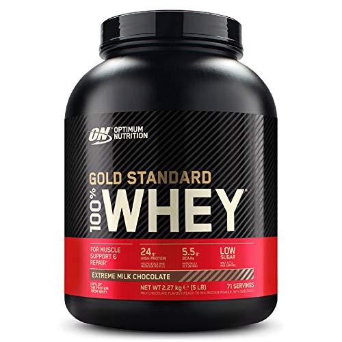 Optimum Nutrition Gold Standard 100% Whey Proteine in Polvere con Proteine Isolat ed Aminoacidi per la Massa Muscolare, Cioccolato al Latte, 71 Porzioni, 2.27 kg, il Packaging Potrebbe Variare