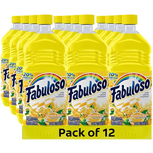 Fabuloso All Purpose Cleaner, Lemon, Bathroom Cleaner, Toilet Cleaner, Floor Cleaner, Shower and Glass Cleaner, Mop Cleanser, Kitchen Pots and Pans Degreaser, 33.8oz (Pack of 12) (US06589A)