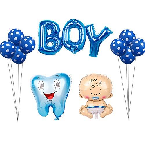 Yqs Luftballon 12pcs / Set rosa blau Zahn Foil Balloons Babymädchen Zahn Thema-Partei Luft aufblasbarer Globos Geburtstag (Color : Boy Set)