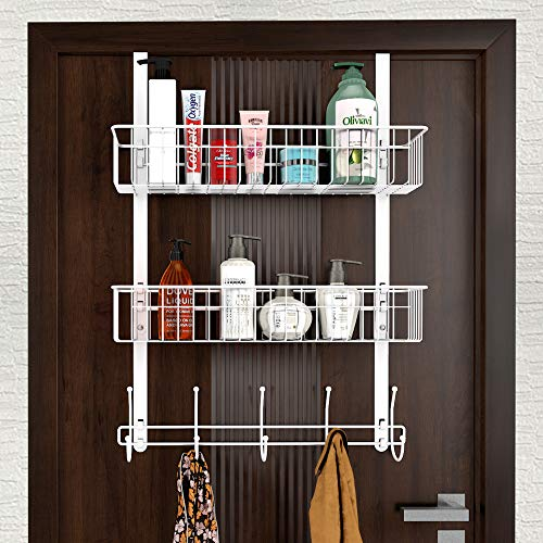 LUCYCAZ Over The Door Organizer Hanger, Towel Rack 5 Hooks with 2 Mesh Basket Behind Door Hooks Hanger Shelf, Back of Door Storage Organizer for Barthroom Kitchen Hanging Towel Clothes (White)