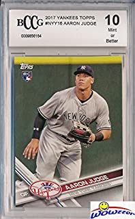 Aaron Judge 2017 Topps New York Yankees Baseball ROOKIE Card Graded HIGH BECKETT 10 MINT! Amazing HIGH GRADE ROOKIE Card of Yankees Home Run Hitting Superstar! WOWZZER!