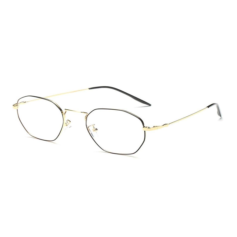 メダルカスケード小切手金属弾性フットワイヤアンチブルー放射線フラットメガネ防風UV保護ファッションデザイン眼鏡眼鏡装飾メガネ-ブラックゴールドフレーム