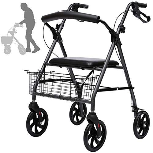 Andador para Ancianos, Andadores Plegable con Asiento y Canasta, Ligero Andador Adulto para Caminata Asistida/Viajes al Aire Libre/Carrito de Compras, Carga: 100kg