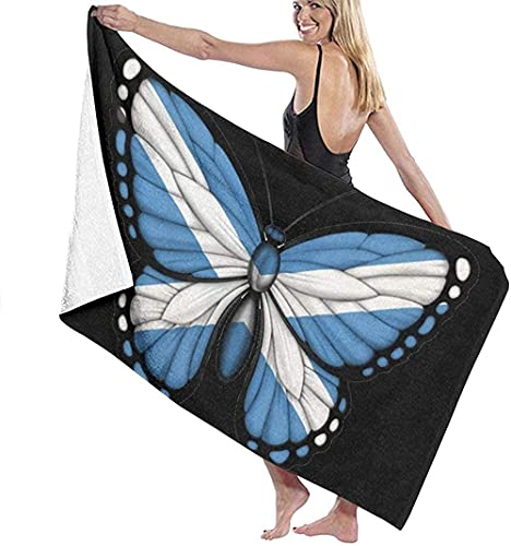 Toalla de Playa Toalla de baño de Moda Mariposa Brillante Bandera de Escocia Toalla de baño Impresa Súper Absorbente Artículos Deportivos de Viaje livianos (100x150cm)