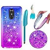 Schutzhülle für LG Stylo 4, modisches Design, glänzende Edelsteine, Strasssteine, glitzernd, fließende Flüssigkeit, Quicksand bewegliche Pailletten, weiches TPU-Gummi, für LG Stylo 4, Blau/Violett