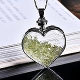 Zhenqing 1 colgante de cristal mineral natural con forma de corazón y colgante para parejas, collar y colgante de regalo