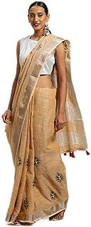 Indian Pastel Orange Handloom Cotton Linen Formal Festive Occasion saree ムスリムパーティーサリー 4080