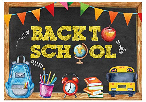 Funnytree 7x5FT Back to School Photography Backdrop Blackboard for Kids Party Banner School Bus Pencil Chalkboard Learning Photo Backgrond Photocall Prop Photo Booth