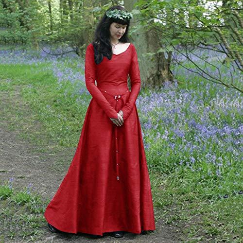 Fnho Vestido Medieval Halloween Disfraz,Medieval Vestido de Halloween,Vestido Medieval clsico, Vestido de Cuello Redondo de Manga Larga-Red_S