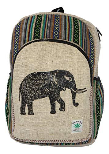 HIMALAYAN Hanf Rucksack, Hanf Tagesrucksack/Daypack für Schule, Reise, Freizeit, Outdoor, Natur - mit Laptopfach, handgemacht in Nepal – Model 150.2 Elefant