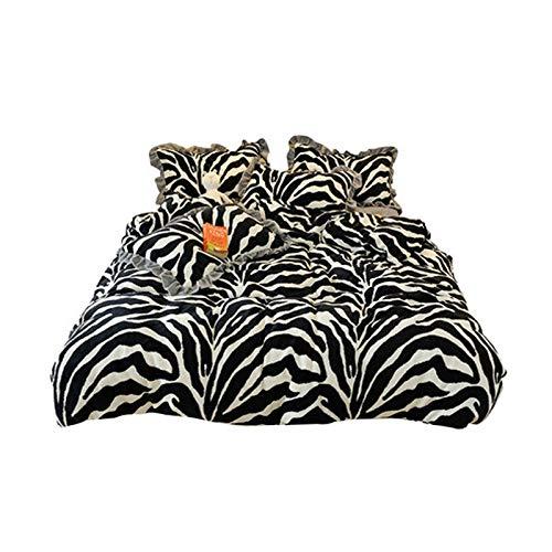 PHGo Hochwertiger Baumwollflanell-Bettbezug, Ganzjahres-Bettwäsche aus 100% gebürsteter Baumwolle, vierteiliger Spitzenmilch-Samt