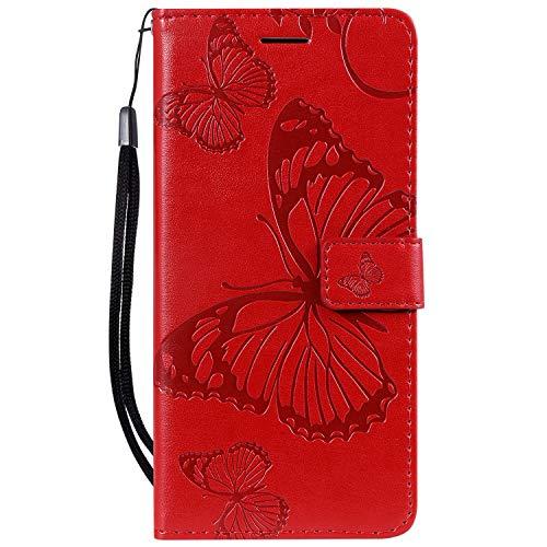 Lomogo Nokia 3.1Plus Hülle Leder, Schutzhülle Brieftasche mit Kartenfach Klappbar Magnetverschluss Stoßfest Kratzfest Handyhülle Hülle für Nokia 3.1 Plus - LOKTU090286 Rot