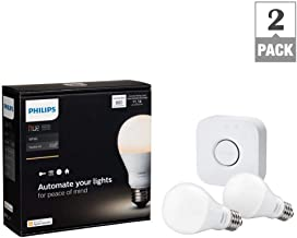 Philips Hue White A19 Starter Kit with two A19 LED light bulbs and bridge (hub)
