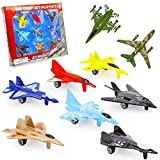 Assorted Color & Styles 9 Piece Die Cast Air Force Jet Play Set, Fighter Jet Model Military Themed Airplane Sets for Kids, by Srenta