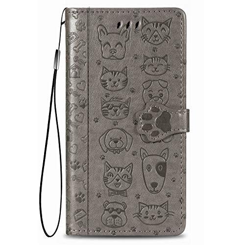 Carcasa para Samsung Galaxy S21 FE, diseño de gato y perro animal, funda antigolpes, funda de piel sintética resistente con tarjetero y soporte ajustable, color gris