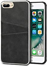 Business, Durable, Soft Cellphone Flip Cases Phone Case For IPhone 7 Plus / 8 Plus Wallet Retro Synthetic PU Leather Cover With Card Holders (Color : Black)