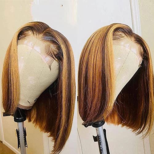 Highlight Glueless Bob Wig Straight 4/27 Ombre Brazilian Brown Honey Blonde T-Part 4×1 Lace Front Human Hair Wigs for Black Women Natural Hairline Pre Plucked 150% Density 10 Inch
