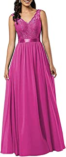 Jonlyc Women's A Line V Neck Lace Bodice Chiffon Bridesmaid Dresses Backless Evening Prom Dresses with Belt