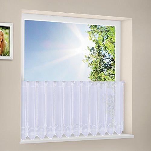 Tenda della finestra Tuck ricamato altezza 30 cm | Può scegliere la larghezza in segmenti da 15,5 cm, come vuole | Colore: Bianco | Tendine cucina